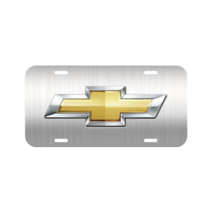 Chevy Chevrolet License Plate Plastic Silverado Brushed Bolt Vehicle Front Tag
