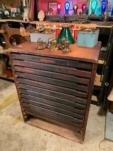 Antique Printers Type Cabinet Printing Press Flat File Parts Cabinet
