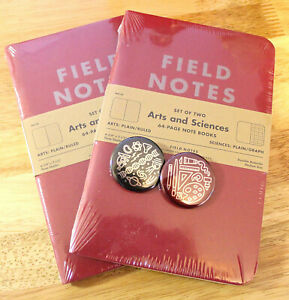 Field Notes Arts Sciences Notebooks 2 Brand New Packs Of 2 With Buttons
