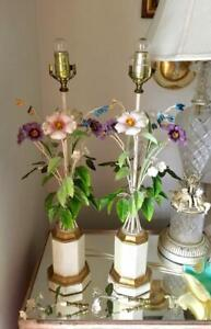 Shabby Vintage Chic Italian Metal Tole Flowers Table Lamp Pair With Finials