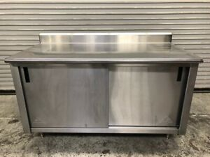 60 X 30 All Stainless Steel 2 Sliding Door Cabinet Table Cart Tabco Nsf 1960
