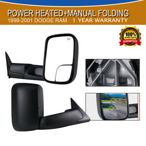Ram Black Tow Mirrors Power heated Floding For 98 00 01 Dodge Ram 1500 2500 3500