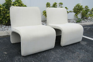 Mid Century Modern Vintage Pair Of Living Bed Room Fireplace Side Chairs 9703