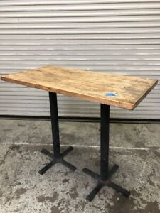 4 Top Bar Height Tall Dining Table Metal Base Solid Real Wood 1923 Restaurant