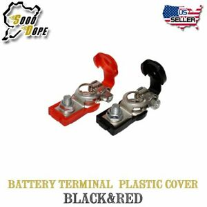 Pair Battery Terminal Cable Clamp Plastic Black Red Cover For Toyota Chevy Honda