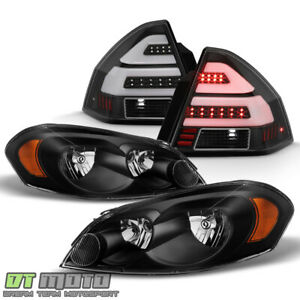 Black 2006 2013 Chevy Impala Headlights led Tube Tail Lights Lamps Left right
