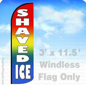 Shaved Ice Windless Swooper Flag Feather Banner Sign 3 x11 5 Rainbow Wf0019