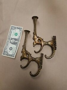 Two Cast Brass Victorian Era Gargoyle Griffin Figure Triple Hat Coat Hooks