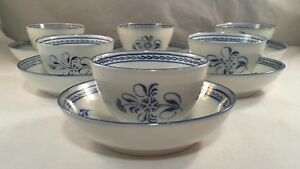 Antique Set Of 6 Blue Decorated Pearlware Porcelain Cups And Saucers English