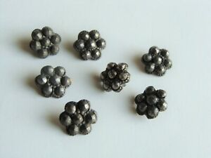 7 Rare Antique Cut Steel Flower Buttons Faceted Tiny F Doll Clothes Shoes