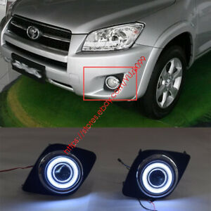 Fog Light Lamp Kit Cob Angel Eye Bumper Cover Lens For Toyota Rav4 2009 2011