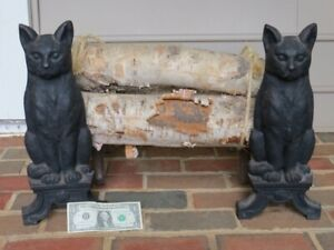 Vintage Heavy Cast Iron Figural Black Cat Fireplace Andirons