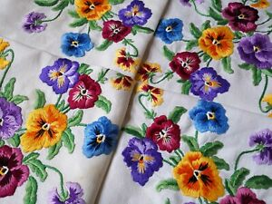 Exquisite Vintage Heavily Hand Embroidered Irish Linen Tablecloth Pansies