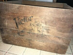Vintage Wooden Shipping Crate Victor His Master S Voice Nipper Records