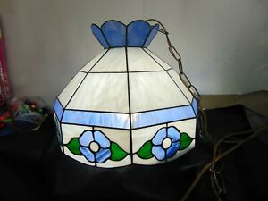 Vintage Tiffany Style Stained Glass Swag Hanging Ceiling Light Lamp Blue White