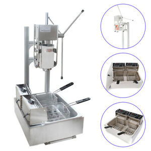 3l Stainless Steel Commercial Manual Spanish Churro Maker Machine 5kw 12l Fryer