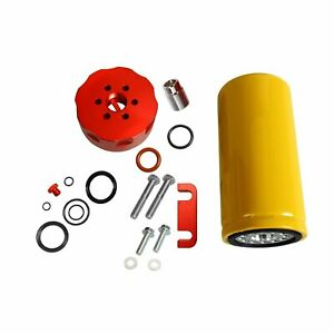 Diesel Cat Fuel Filter Adapter W Complete Kit Fit 2001 2006 Chevy Duramax Red