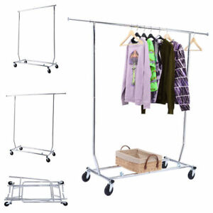 Single Rail Clothing Garment Rolling Collapsible Rack Dry Clothes Rack Hanger