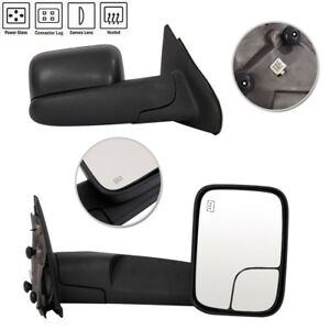 Pair Power Heated Flip Up Tow Mirrors For 2002 09 Dodge Ram 1500 03 09 2500 3500