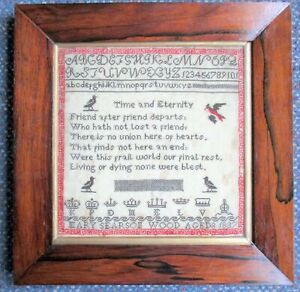 Antique English Embroidery Needlepoint Mary Wood Sampler 1837 With Noble Titles