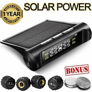 Tire Pressure Monitoring System Tpms Solar Power Universal Wireless With 4 Exter