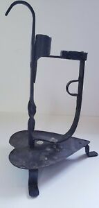 Primitive Wrought Iron Candle Holder Rushlight Lighting Device Heart 19th C