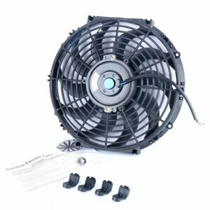 12 Electric Radiator Cooling Slim Fan With 10 Blades Mounting Kit 12v 80w