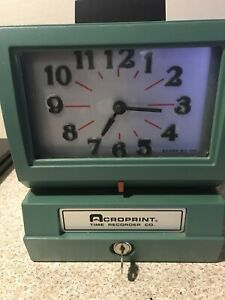 Acroprint 125nr4 Print Time Recorder Time Punch Clock With Key Faceplate Refb