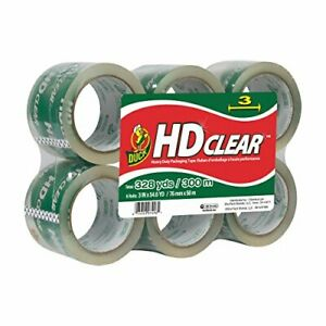 Duck Heavy duty Carton Packaging Tape 3 X 55yds Clear 6 pack 0007496