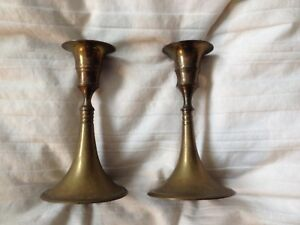 Vintage Solid Brass Candlesticks Pair Candle Holders 4 3 4 T