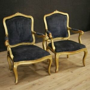 Armchairs Chairs Furniture Pair Italian Antique Gilt Wood Fabric Living Room 800