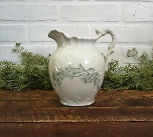 Antique Turquoise Green Transferware White Ironstone 7 Pitcher Shabby Cottag