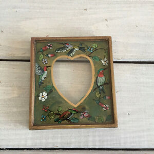 Vtg Hand Painted Mini Picture Frame Heart Birds Floral Whimsical Gold Wood Glass