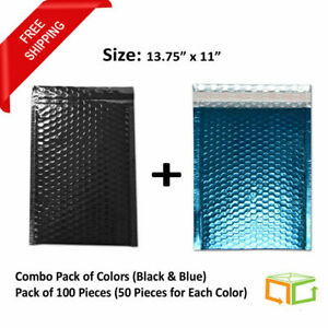 Glamour Bubble Mailers 13 75x11 Black Blue Envelopes Shipping Bags 100 Pieces