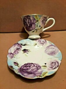 Vintage Japanese Bone China Tea Cup Saucer Lavender Cabbage Roses Gold Trim