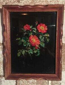 19thc Early Naive Folk Art Reverse Glass Foil Tinsel Painting Flowers