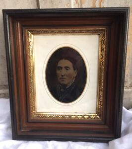 Antique Eastlake Deep Shadowbox Picture Frame Gilt Liner W Colorized Lady Photo
