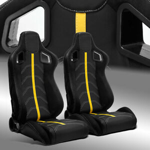 2 X Reclinable Pvc Leather Yellow Strip Left Right Racing Bucket Seats Slider
