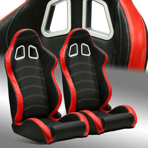 2 X Reclinable Black Red Pvc Leather White Stitch Left Right Racing Bucket Seats