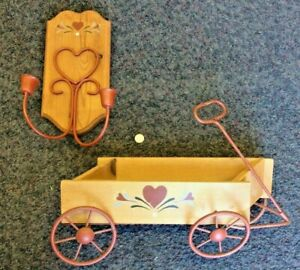 2 Vintage Rustic Wood Metal Tole Painted Wagon Candle Holder