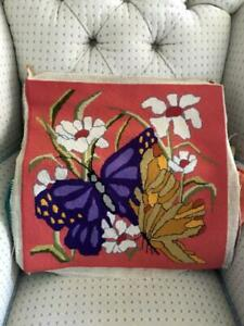 Vtg Completed Butterflies Flowers Needlepoint Finished Tapestry