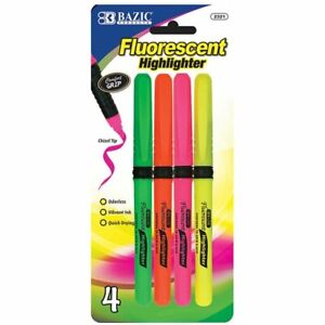 Bazic Pen Style Fluorescent Highlighters W cushion Grip 4 pack