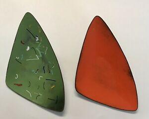 2 Vintage Mid Century Enameled Copper Plate Triangle Orange Green Dish Art