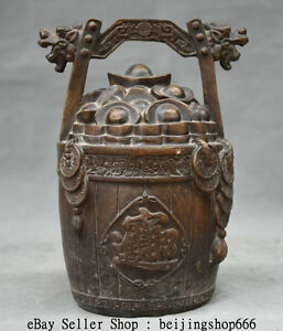 8 Old Chinese Bronze Dynasty Yuanbao Coins Wealth Bucket Pail Statue Sculpture