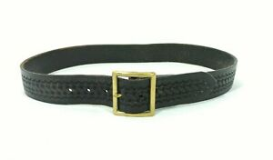Vintage Safariland Black Leather Basketweave Police Guard Duty Belt 38 Brass A1