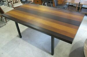 Milo Baughman Directional Mixed Wood Dining Table W Leaves Rosewood Mid Century