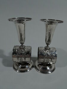 Ball Black Napkin Rings W Vases Antique Aesthetic American Sterling Silver