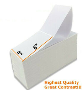 4000 4x6 Fanfold Direct Thermal Shipping Labels 2 Stacks 2000 Labels Per Stack