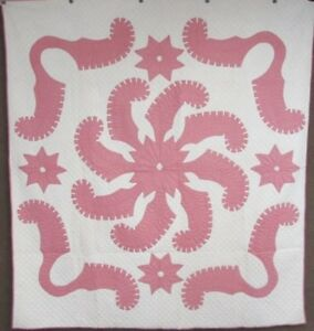Show Stopper C 1920s Princess Feather Vintage Applique Quilt Pink 5 Stars