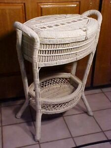 Fabulous Antique Victorian Wicker Floor Sewing Basket Box Chest Rare